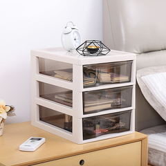 Two layer drawer type transparent desktop, office storage box, plastic cosmetics, storage rack white