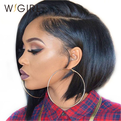Wigirl Hair Straight Human Hair Bob Short Human Hair Wigs With Baby Hair Virgin Lace Front Wigs black one size