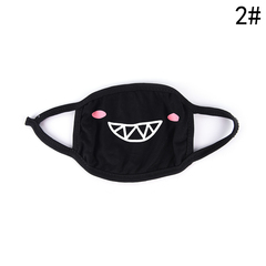 Unisex Cartoon Funny Teeth Letter Mouth Black Cotton Mask Anti-bacterial Dust Winter Warm Cute Masks 2