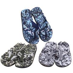 Comfort Sandals Summer Men Camouflage Flip Flops Shoes Sandals Open Toe Slipper indoor & outdoor blue 40