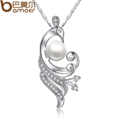 Simulated Pearl Necklaces & Pendants with Paved 21 piece Micro AAA Cubic Zircon Women silver one size