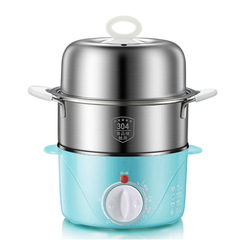Stainless Steel Timing Egg Boiler Large Capacity Double Layer Egg Steamer blue one size
