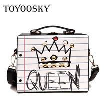 New arrival fashion letter diamonds pearl rivet box shape casual female handbag queen one size