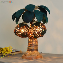 Wooden Shell Decor Table Lamps Southeast Asia Thai Coconut Night Lights Spa Clubhouse