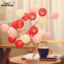 Multicolor LEDs Cotton Ball Stree Table Lamps Lights Decoration Party Wedding Holiday