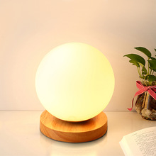 Modern Wooden glass ball moon lamp Japanese small Table Lamps colorful glass desk lamp