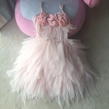 Sweet girls new year pink princess flower dress luxury children fur tutu garments for little girls pink 100cm