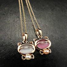 Fashion Jewelry Lucky Cat Bohemian Statement Necklace Cat Eye Stone Pendant pink one size