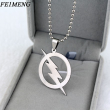 Superhero The Flash Necklace Silvery Super Hero Lightning Logo Pendant Necklaces For Men silver one size
