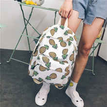 2018 Women Canvas Backpack For Teenagers Girls Boys School Bag Student Cute Pineapple 1
