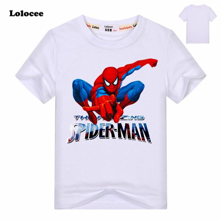 e2465357 Boys Super hero Marvel Spiderman t shirt spider man Cotton Tee Top Kids  Batman Short Sleeves