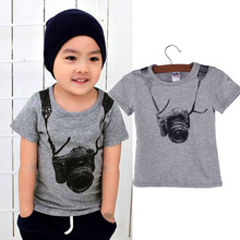 2018 New Hot Summer Toddler Kids Boys Clothes Casual 3D Camera Tops T-Shirts Short Sleeve TShirt 1 90cm cotton