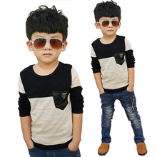 MRJMSL Size110~150 kids child tops tees children t-shirts for boys long sleeve t shirts patchwork 1 100cm cotton