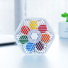 Creative desktop small fan hexagonal design desktop small fan lazy elf office desktop fan