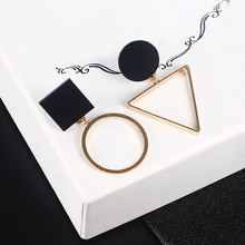 New Fashion Geometric Stud Earrings For Women Round Triangle Design Elegant Earrings black one size