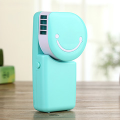 Mini Cartoon handheld air conditioning small fan leafless fan Creative USB portable smiling