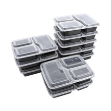10 Pcs Plastic Bento Box Meal Storage Food Prep Lunch Box 3 Compartment Reusable Microwavable black one size
