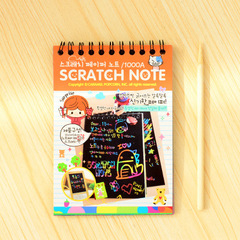 1Pc Scratch Note Black Cardboard Creative Diy Draw Sketch Notes For Kids Toy Notebook Zakka Material 1 one size