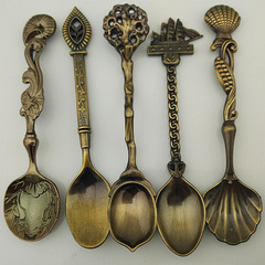 5pcs/set Hot Royal Luxury Vintage Palace Carved Coffee Spoon Tea Mini Ice cream Scoop Spoon Bar 1 one size