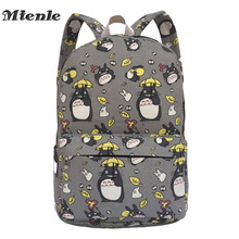MTENLE Lovely Totoro Printing Canvas Backpack Korean Styles of School Bags Free Shipping -B 1