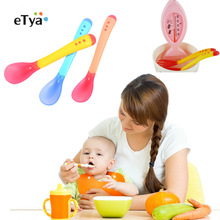 Safety Temperature Sensing Spoon Baby Feeding fork kids Children Food Utensils Colheres yellow one size
