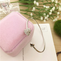 2018 hot sale fashion adjustable double peach heart crystal cuff opening bracelet for ladies silver one size