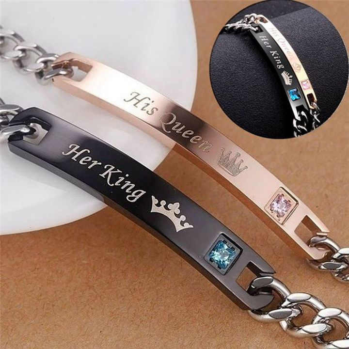 2PCS Set His Queen Her King Black Rose Gold Color Women's Male Chain Crystal Couple Bracelet 3gold one size