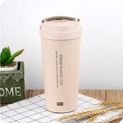 2018 Hot Water Bottle 500ml Office Coffee Bottle Wheat Straw Plastic LeakProof Double Layer pink 400ml