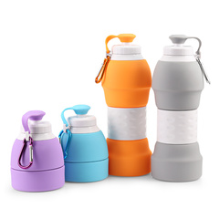 580ML Portable BPA Free Silicone Water Bottle Folding Coffee Teacup Outdoor Travel Drinking green one size