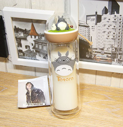 Creative My Neighbor Totoro Micro Landscape Double Wall Glass Water Bottle for Water Gifts 1 one size