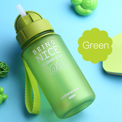 Baby Water Bottle 400ml With Straw Water Bottle For Children Kids Feeding Cup Enfant Drinking green one size