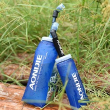Foldable Soft Flask TPU Outdoor Sports Running Folding Water Bottle Trave Healthy Soft Material blue 350ml