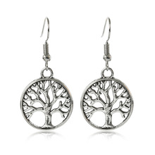 SHUANGR Wholesale elegant Silver Tree Of Life drop earrings totem gift wife unique long earing picture one size