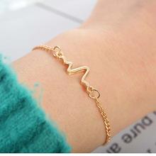 New fashion simple frequency ECG design bracelet bracelet love thin female bracelet jewelry gold one size