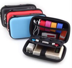 LASPERAL Zipper Earphone Case Leather Earphone Storage Box Portable USB Cable Organizer blue