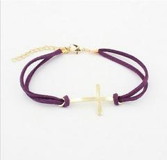 Charm Simple Double Layer Leather Bracelet Women Cross Bracelets Cheap Jewelry Best purple one size