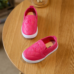 Autumn 2018 new children's PU leather casual shoes simple pure color board red 26