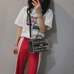 Puimentiua Bags for Women 2018 Clear Transparent PVC Bag Jelly Shoulder Bag Beach Letter Candy Women black one size