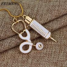 Doctor who Medical Stethoscope Syringe Necklace Snake Chain Needle Metal Pendant Necklaces gold one size