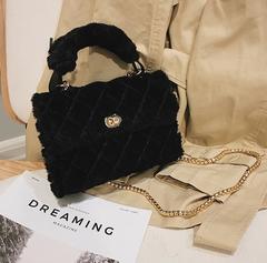 Korean Fashion Sweet Lady Tote bag 2018 Winter New Quality Soft Plush Women's Designer Handbag black one size