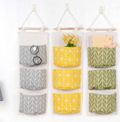3 Pockets Wall Door Wardrobe Hanging Bag Pouch Hanging Organizer Bathroom Sundries Storage Bag yellow dots