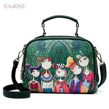 Designer Luxury Brand High Quality PU Leather Ladies Green Cartoon Handbag Women Shoulder Bag green one size