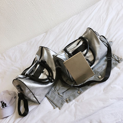 Luggage Tote Duffle Travel Bag Brand Fashion PU Leather Handbag High Quality Silver Messenger picture big