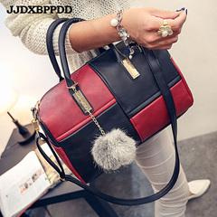 Women PU Leather Handbag Patchwork Color Messenger Bag Fashion Designer Shoulder Bag Ladies red one size