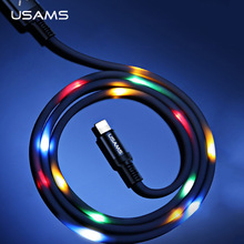 Volume Control Dance LED Light Flash Cable for iPhone 6 7 X,USAMS SR Data Sync 2A Fast Charging USB black type-c  1m