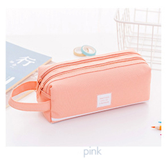 Creative Large-capacity Handle Double-layer Pencil Bag Simple Stationery Bag Creative Korean Student pink