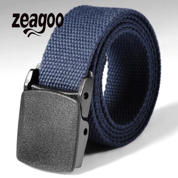 Waist Tactical Adjustable Outdoor Belt Military Nylon Belt Men Army Style Belt Automatic Buckle barkblue one size
