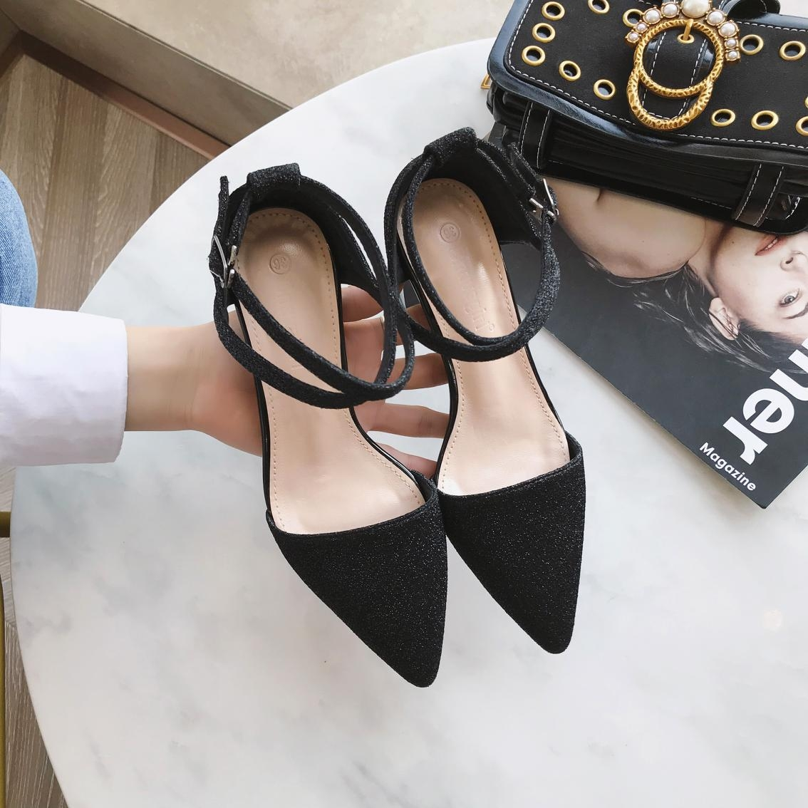 703b8739eca Korean Version With Thick Single Lace Pointed High Heels 2019 Amoi Heel  Women Sandals black 34  Product No  10812493. Item specifics  Seller  SKU DM-19167 ...
