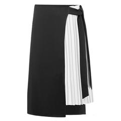 Trytree Spring summer women skirt Casual Polyester Chiffon Asymmetry High waist zipper skirt white s