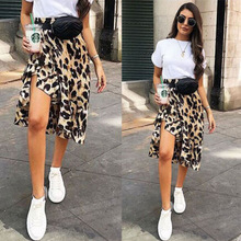 Sexy High Waisted Asymmetric Stretch Leopard Skirt for Women Girl Party Bodycon Skirt new picture s